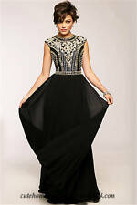 JOVANI EMBELLISHED BODICE CHIFFON FIT & FLARE BLACK GOWN DRESS sz 6