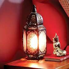 Marocain lampe de table lanterne marrakech rouge métal laiton antique bronze light
