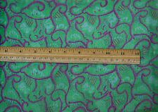 "Green/Fuchsia Printed Chiffon 100% Silk Fabric 44"" Wide, By the Yard (TS-7454)"