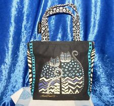 LAUREL BURCH TWO 2 CATS DOS GATOS BLACK CANVAS MINI TOTE BAG PURSE BLACK GOLD