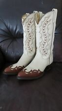 MENS J CHISHOlLM  Wing Toe LEATHER COWBOY BOOTS 9 1/2EE Two Tone Beige Cognac
