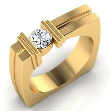 Natural  0.47ct Diamond Mens Rings Engagement Rings 14K Yellow Gold Ring Size V