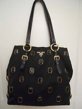 AUTHENTIC PRADA BLACK STUDDED PURSE w/ JEWELS RUNWAY COLLECTION GEMS