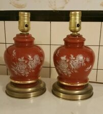 Leviton Vintage Table Lamps Pair red Floral Pattern Work great!!