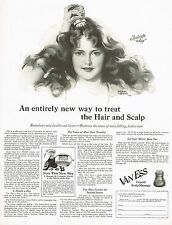 1920's BIG Old Vintage Van Ess Scalp Massager Andrew Loomis Lady Art Print Ad