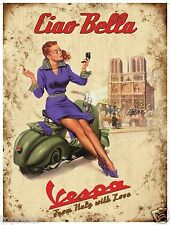 CANVAS PRINT VESPA VINTAGE ART POSTER ADVERT SCOOTER 700mm
