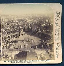 ROME,- ETERNAL CITY FROM THE DOME OF ST PETERS- 1897 -STEREOGRAPHIC - UNDERWOOD