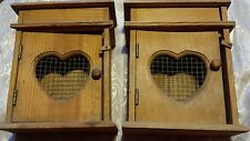 Lot of 2 Retro 1990's Style Wood Heart Shaped Caged Boxes (Shabby Chic Decor)