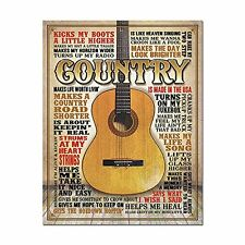 Country Music Made in America Acoustic Guitar Metal Tin Sign 16 x 12.5 New