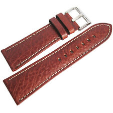 20mm Hadley-Roma MS906 Mens Tan Leather Contrast Stitched Watch Band Strap
