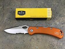 Buck 722 Spitfire Everyday Folding Knife Orange Handle Partially Serrated Edge