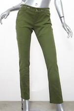 GIVENCHY Womens Olive Green ZIPPER 2Tone Stretch Denim Straight-Leg Jeans 38/6 S