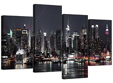 Canvas Pictures of New York Skyline for your Living Room - 4 Panel Cityscape