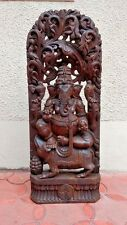 Ganesh Ganesha w Rat Wooden Statue Hindu Temple Figurine Hand carved sculpture