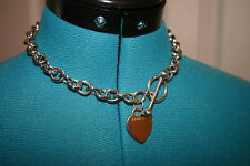"Vintage BLUE NILE Sterling HEART Tag Toggle 16"" NECKLACE 75 Grams $299 EUC"