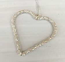 Silver Hanging Heart Decoration, Wedding, Christmas, Home - Small