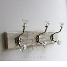 WHITE WOODEN DOOR WALL HANGING RACK STORAGE COAT GLASS CAST IRON SILVER HOOKS