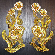 gold beaded sequin embroidered lace PAIR applique motif patch dance costume