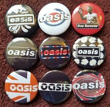 Oasis Button Badges x 9. (Set 2). Pins. Collector. Bargain :0)