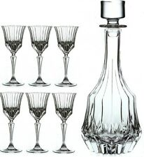 RCR Adagio Wine Liqueur Crystal Decanter With 6 Stemmed Glasses 7 Piece Set