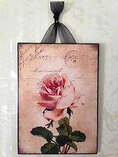 Vintage French Rose Plaque Wall Decor Sign Country Chic Paris