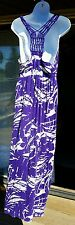 Liz Lange maternity M maxi full length rayon dress purple beige leaf pattern