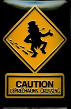 Leprechauns Crossing Metal Tin Plate Sign Tin Sign 7 9/10x11 4/5in