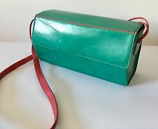 VINTAGE 1980s CHARLES JOURDAN SOFT GREEN LEATHER HEXAGON BOX BAG WITH PINK STRAP