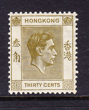 HONG KONG GVI 1938 SG151 30c yellow-olive - perf 14 - mounted mint. Cat £150