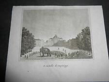 1837 AUDOT INCISIONE VEDUTA DEL CASTELLO DI STUPINIGI NICHELINO TORINO