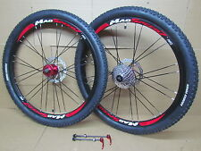 "26"" MTB Bike Front Rear Disc Wheel Set + Kenda Tyres + 9 Speed Cassette + Rotor"