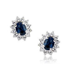 GORGEOUS 18K WHITE GOLD PLATED SAPPHIRE BLUE AUSTRIAN CRYSTAL CLIP-ON EARRINGS
