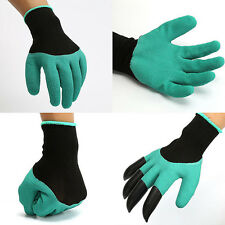 Rubber Polyester Builders Garden Work Latex Gloves 4 ABS Plastic Claws 1 Pair