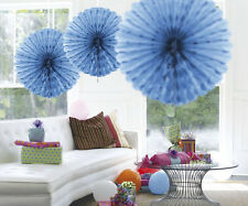 BABY BLUE HANGING HONEYCOMB PARTY DECORATION FAN 45CM
