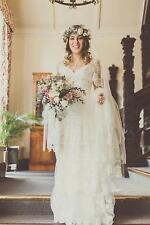 Bohemian Lace Wedding Dress White Ivory Princess Bridal Gown Custom Size 2017