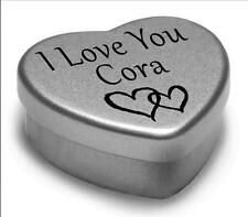 I Love You Cora Mini Heart Tin Gift For I Heart Cora With Chocolates or Mints