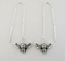 *IAJ* 3-DIMENSIONAL GARDEN HONEY BUMBLE BEE STERLING SILVER Threader Earrings