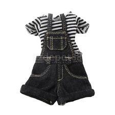 Black Stripe T-Shirt Jeans Jumpsuit for 1:6 Kurhn Doll BJD SD Dolls Dress
