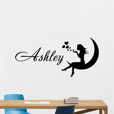 Personalized Girl Name Wall Decal Custom Vinyl Sticker Moon Fairy Decor 172hor