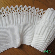 3 yards 2-layer Elastic Pleated Organza Lace Trim Gathered Chiffon Ribbon White