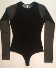 $400 Donna Karen Collection Black Fine Knit Bodysuit XS Small 2 Sheer Top Blouse