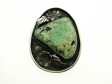 Vintage Old Pawn Signed SP Sam Pinto Sterling Silver Pendant with Turquoise