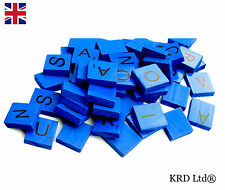 100 COLOURED Wooden Scrabble Tiles Mix Letters Varnished Alphabet Scrabbles BLUE