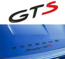 GTS Badge Emblem Black & Red Trunk Decoration Sticker For Cayman Carrera Boxster