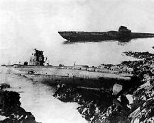New 8x10 World War I Photo: German U-Boats Washed Ashore at Falmouth, England