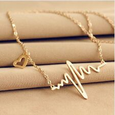 New Gold Color Finish ECG HEARTBEAT Small Heart Pendant Chain Necklace For Girls