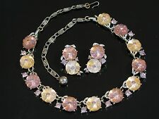LISNER PINK LAVENDER GLOWING MOLDED GLASS PUFFY FLOWER NECKLACE & EARRINGS SET