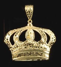 Real 10k Gold KING CROWN NUGGET DESIGN Pendant Charm Piece Diamond Cut Design