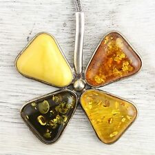 VINTAGE BALTIC AMBER NATURAL AMBER Sterling Silver 925 CLOVER CHAIN NECKLACE  -