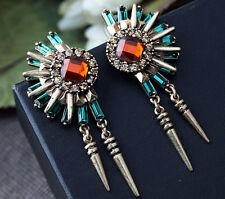 Luxury Party Retro Rhinestone Flower Fan shaped Rivet Tassel Dangle Stud Earring